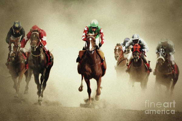 Running Horses In Dust Poster