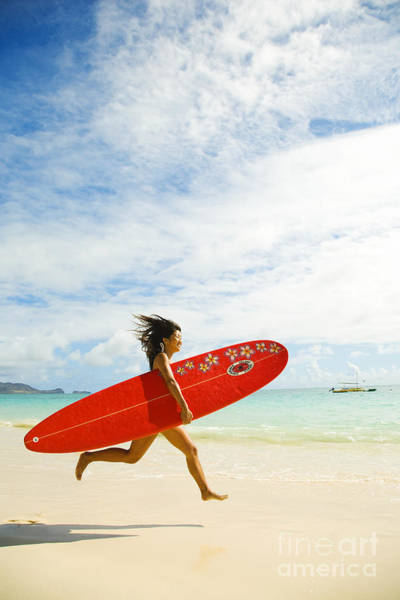 Running With Surfboard Poster
