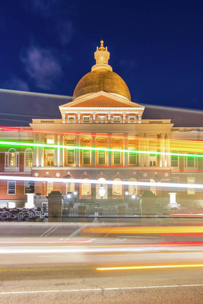 Rush Hour In Front Of The Massachusetts Statehouse Poster