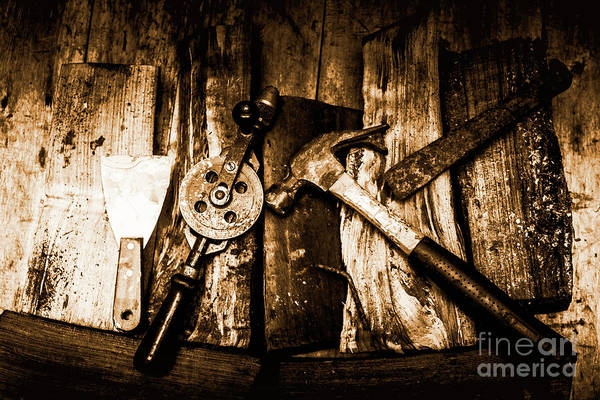 Rusty Old Hand Tools On Rustic Wooden Surface Poster
