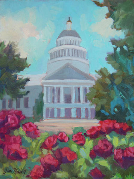 Sacramento Capitol And Roses Poster