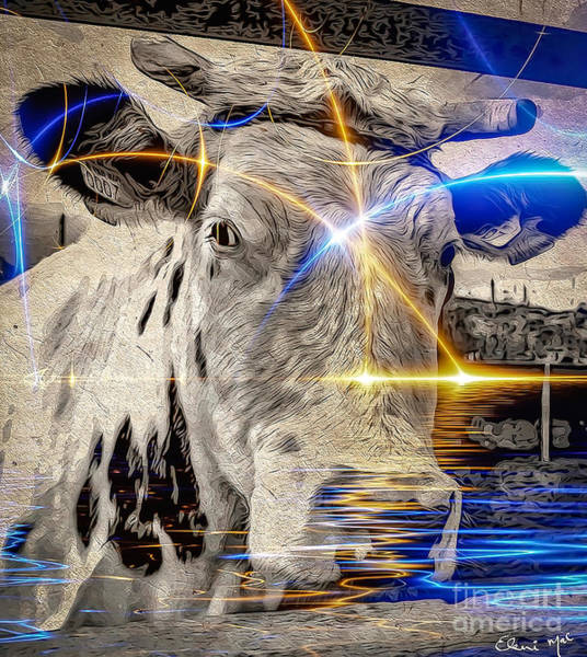Poster featuring the digital art Sacred Cow by Eleni Mac Synodinos
