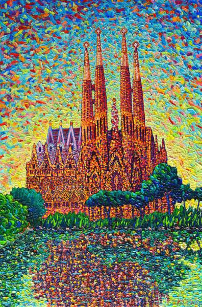 Sagrada Familia Barcelona Modern Impressionist Palette Knife Oil Painting By Ana Maria Edulescu Poster