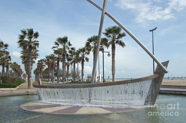 Sail Boat Fountain In Valencia Poster