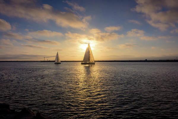 Sailboats At Sunset Poster