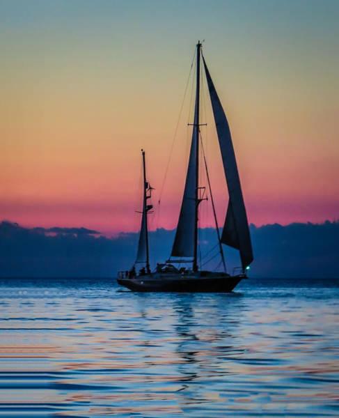 Sailing After Sunset Poster