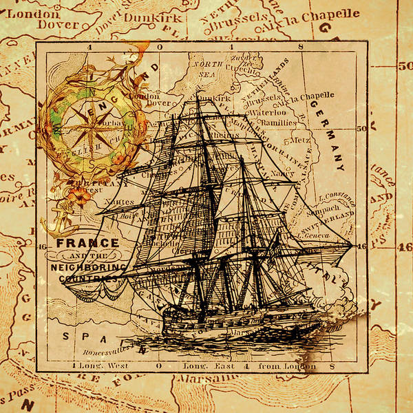 Sailing Ship Map Poster