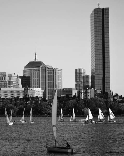 Sailing The Charles River Boston Ma Black And White Poster