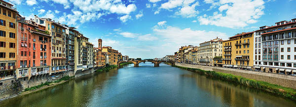 Panoramic View Of Saint Trinity Bridge From Ponte Vecchio In Florence, Italy Poster