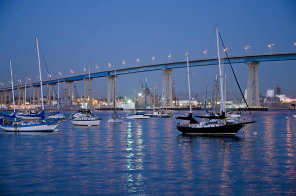 San Diego Bay At Nightfall Poster