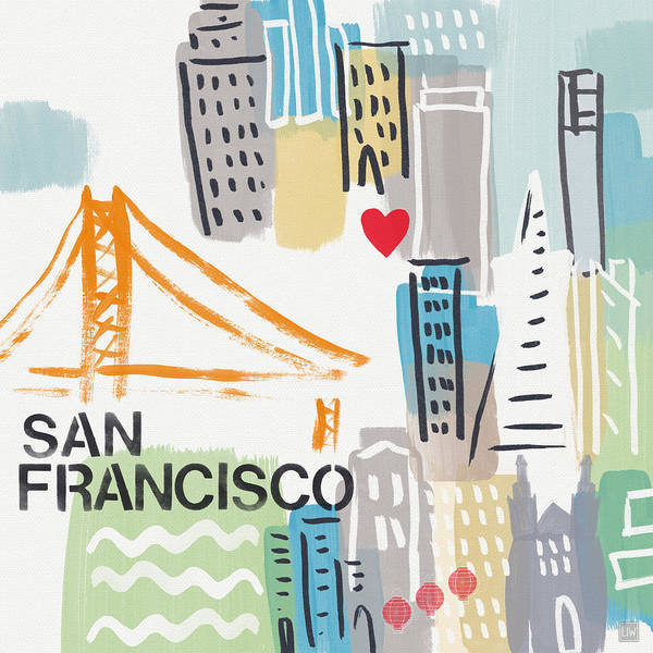 San Francisco Cityscape- Art By Linda Woods Poster