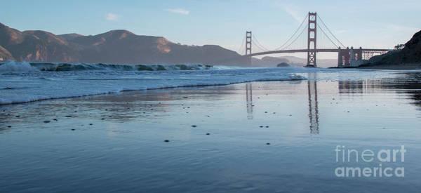 San Francisco Golden Gate Bridge Reflected On Baker's Beach Wet  Poster