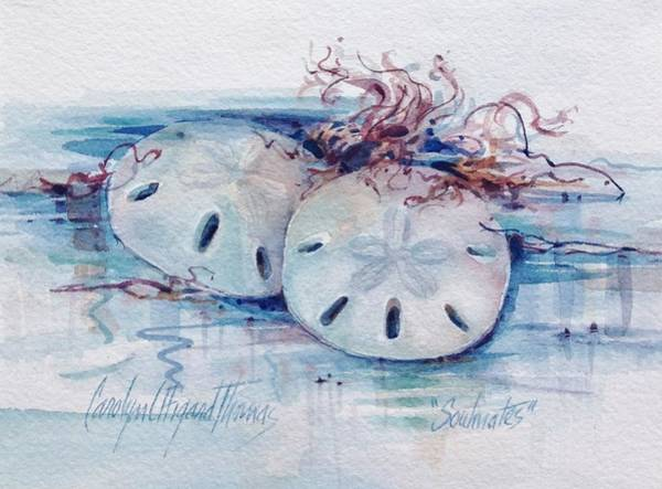Poster featuring the painting Sand Dollar Soulmates by Carolyn Utigard Thomas