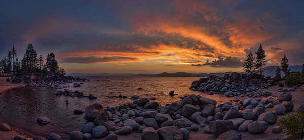 Sand Harbor Sunset Panorama Poster