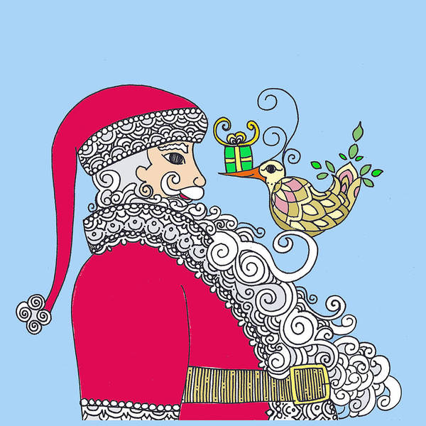 Poster featuring the drawing Santa And Bird On Blue by Caroline Sainis