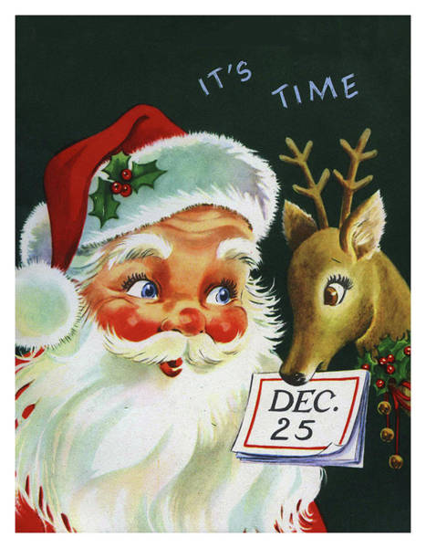 Santa Claus With His Deer On 25th. December Poster