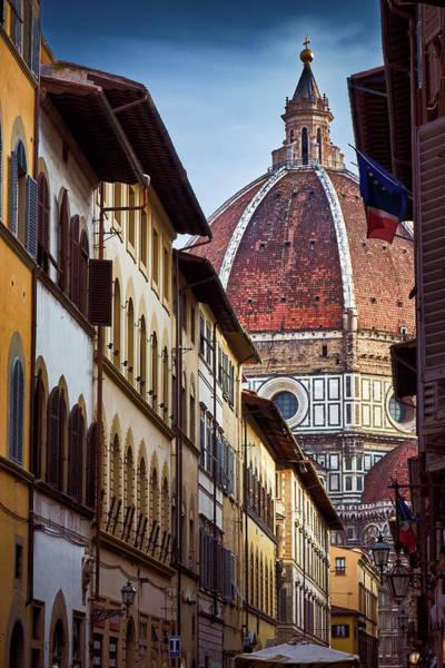 Santa Maria Del Fiore From Via Dei Servi Street In Florence, Italy Poster