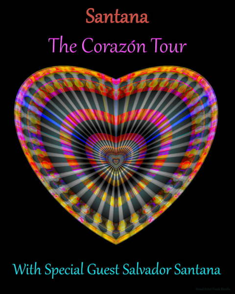 Poster featuring the digital art Santana The Corazon Tour by Visual Artist Frank Bonilla