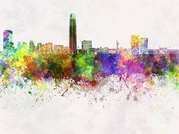 Santiago De Chile Skyline In Watercolor Background Poster