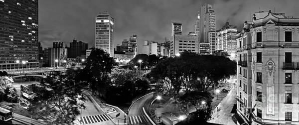 Sao Paulo Downtown At Night In Black And White - Correio Square Poster