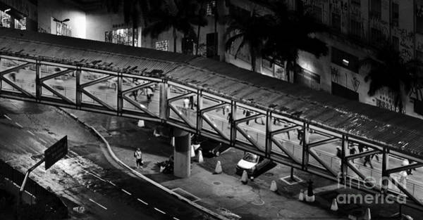 Sao Paulo - Metallic Footbridge At Night Poster