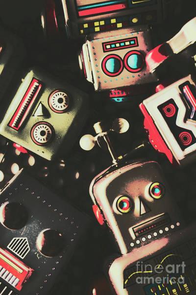 Science Fiction Robotic Faces Poster