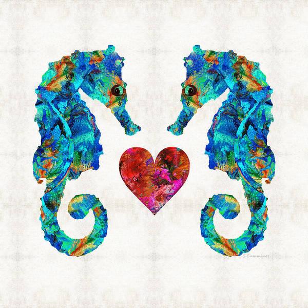 Sea Lovers - Seahorse Beach Art By Sharon Cummings Poster