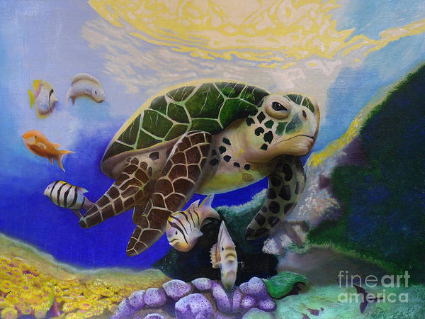 Sea Turtle Acrylic Painting Poster