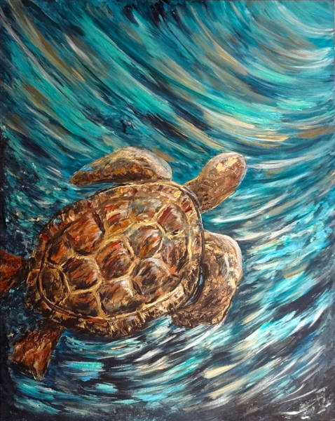 Sea Turtle Wave Guam Poster