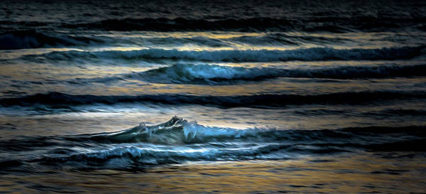 Sea Waves After Sunset Poster