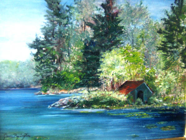 Poster featuring the painting Secluded Boathouse-millsite Lake  by Jan Byington