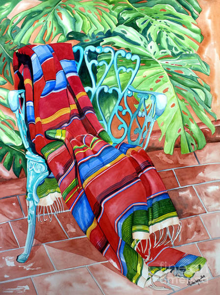 Serape On Wrought Iron Chair I Poster