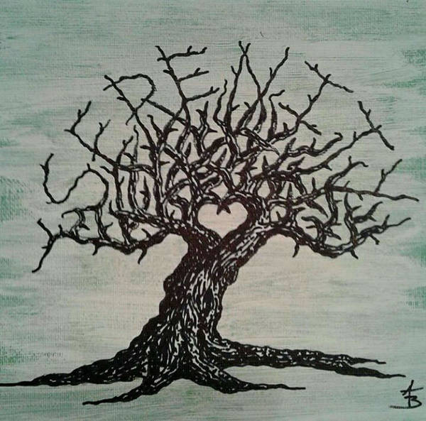 Poster featuring the drawing Serenity Love Tree by Aaron Bombalicki