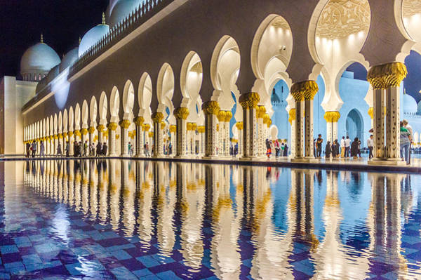 Poster featuring the photograph Sheikh Zayed Mosque Reflections by Yogendra Joshi