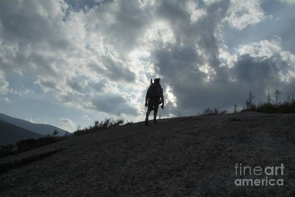 Silhouette Of A Hiker On Middle Sugarloaf Mountain - White Mountains New Hampshire Usa Poster