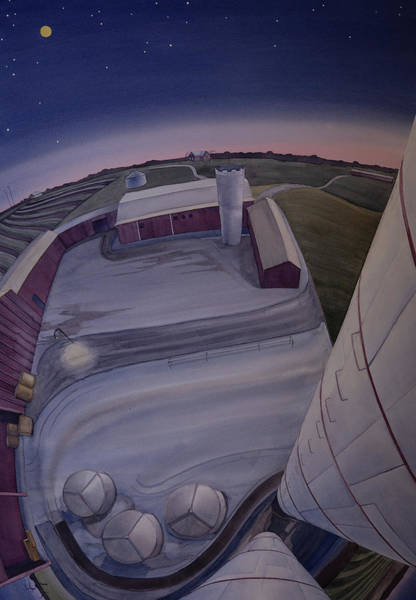 Poster featuring the painting Silos Looking Down by Scott Kirby