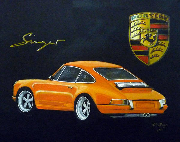 Poster featuring the painting Singer Porsche by Richard Le Page