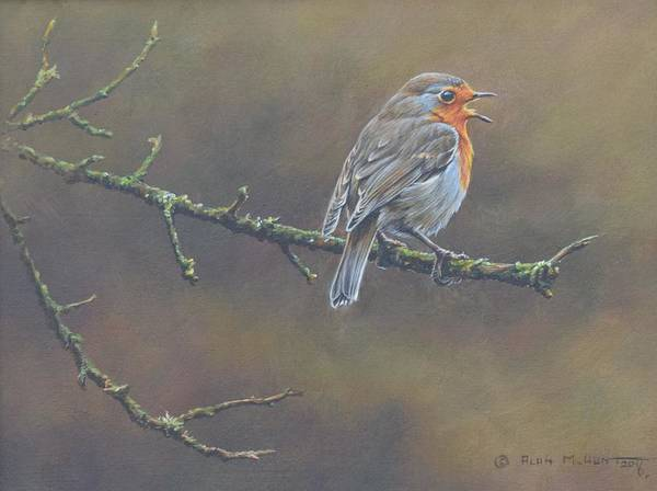 Poster featuring the painting Singing Robin by Alan M Hunt