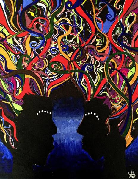 Sis The Twins - Abstract Silhouette Painting - Sisterhood - Abstract Painting  Poster