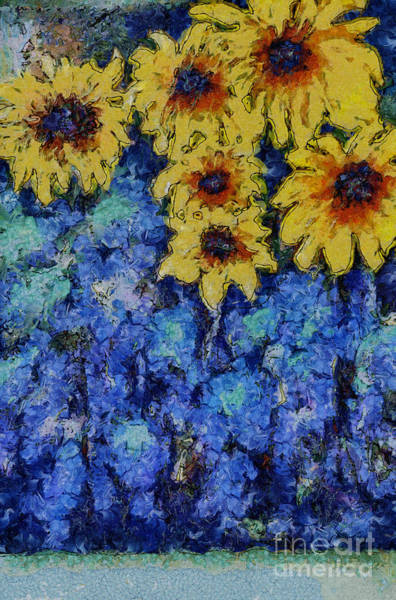 Six Sunflowers On Blue Poster
