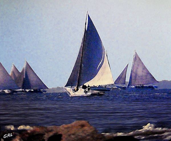 Poster featuring the painting Skipjacks Racing IIi Chesapeake Bay Maryland Contemporary Digital Art Work by G Linsenmayer