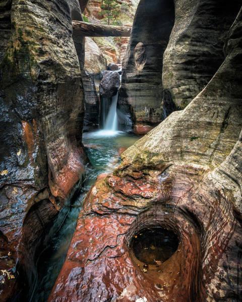 Slot Canyon Waterfall At Zion National Park Poster
