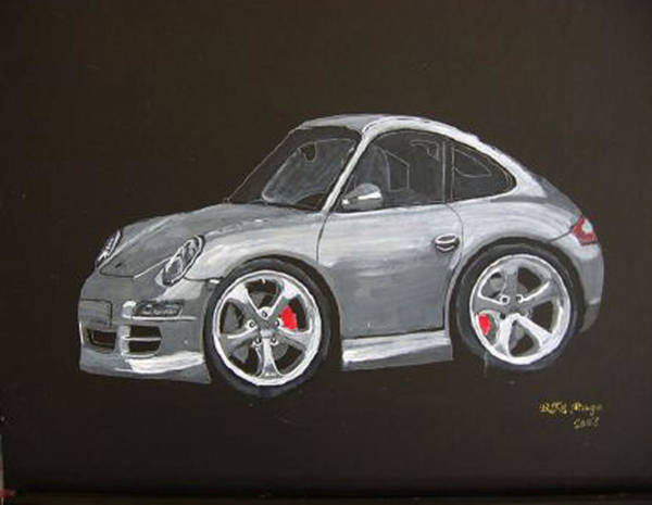 Poster featuring the painting Smart Porsche by Richard Le Page