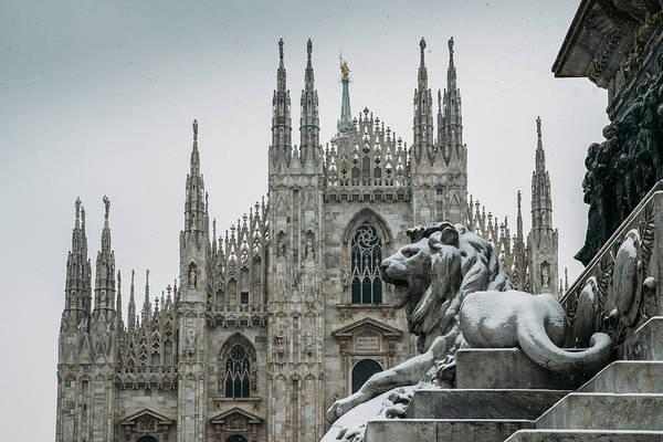 Snow At Milan's Duomo Cathedral  Poster