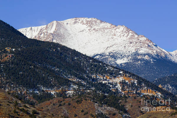 Snow Capped Pikes Peak In Winter Poster