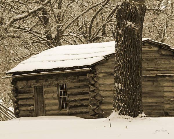 Snow Covered Gardner Cabin Poster