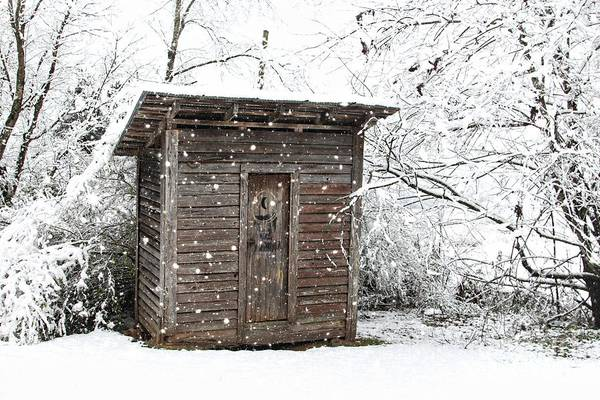 Snow Covered Outhouse Poster