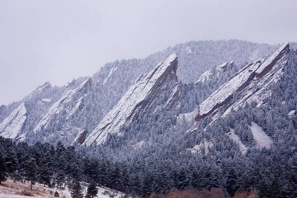 Snow Dusted Flatirons Boulder Colorado Poster