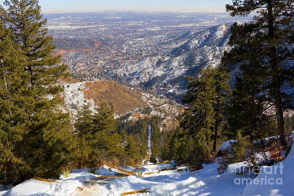 Snow On The Manitou Incline In Wintertime Poster