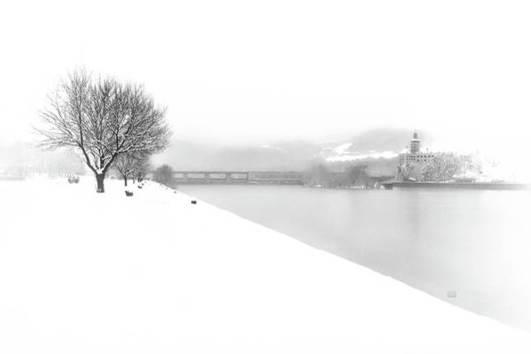 Snowfall On The River Danube At Ybbs Poster